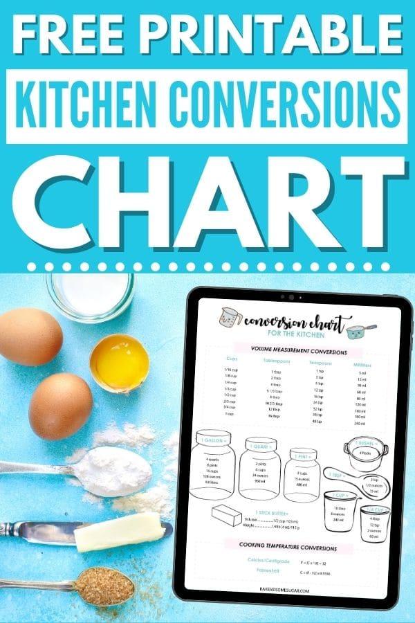 kitchen conversions chart printable