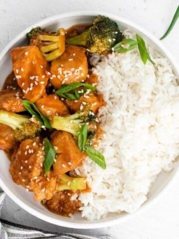 sesame chicken in a bowl