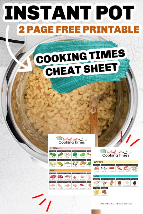 cheat sheet for instant pot with mac and cheese behind it in instant pot