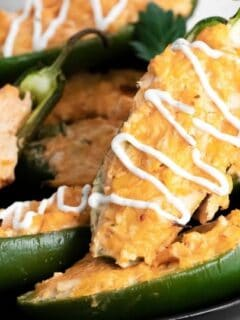 buffalo chicken stuffed peppers on a plate
