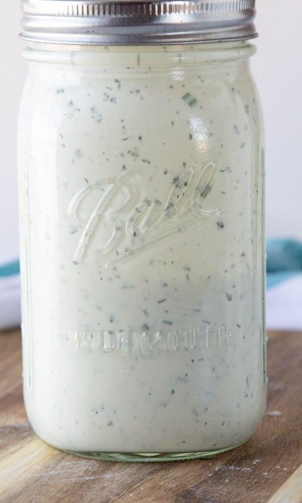 buttermilk ranch dressing in mason jar