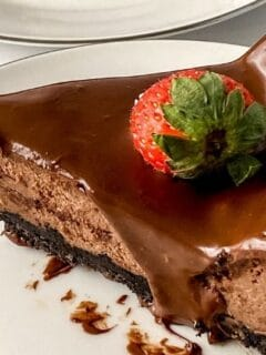 slice of chocolate cheesecake on plate