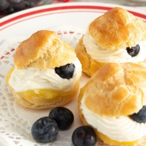 creme puff on a plate