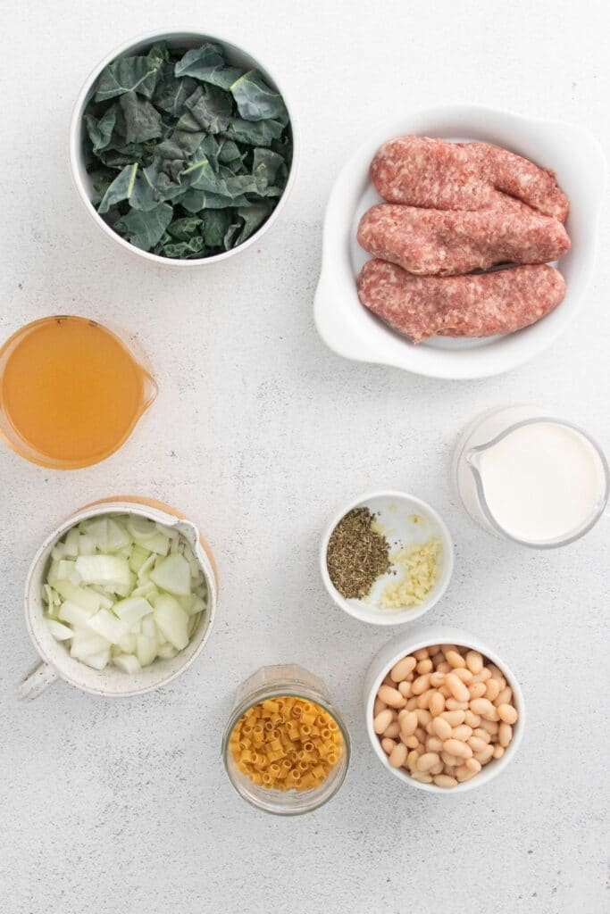 ingredients for fagioli soup on table
