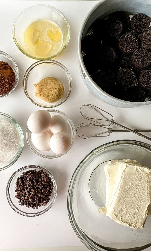 ingredients for chocolate cheesecake on counter