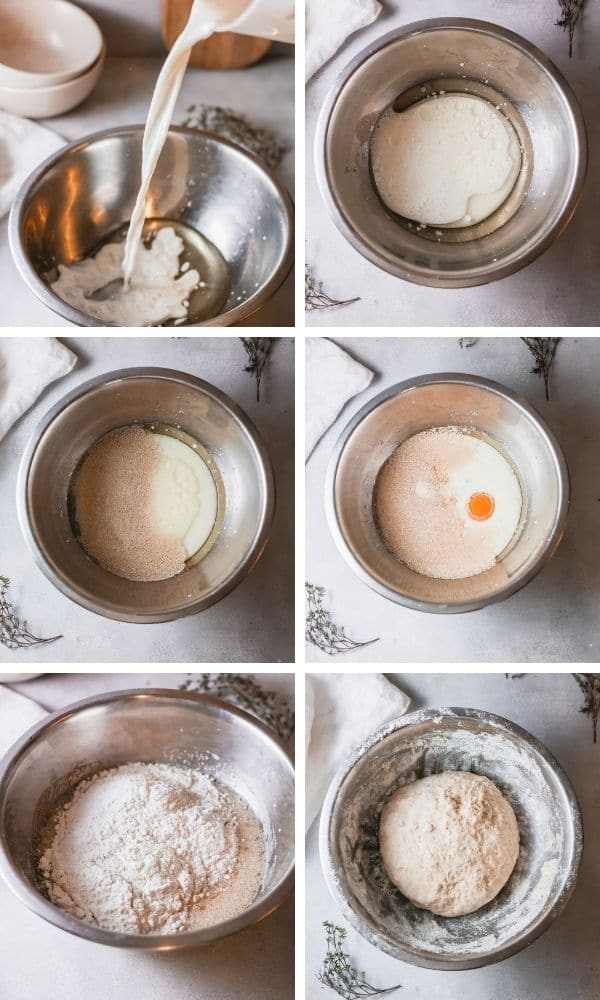 how to make focaccia bread pictures in a collage