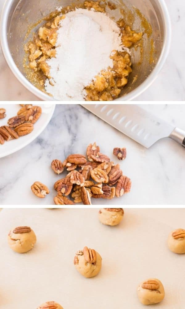 how to make pecan cookies pictures in collage