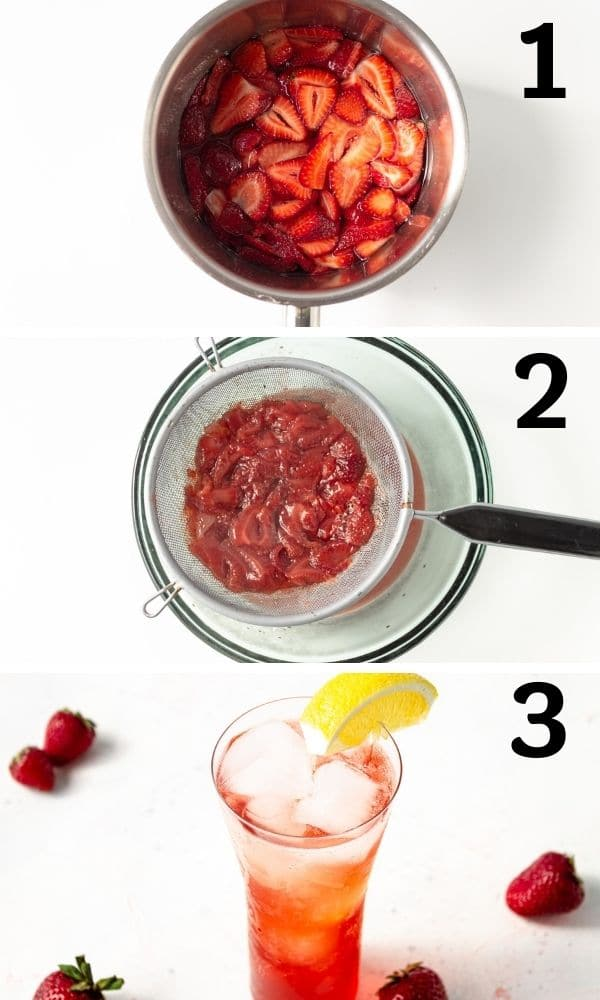 steps on how to make strawberry syrup