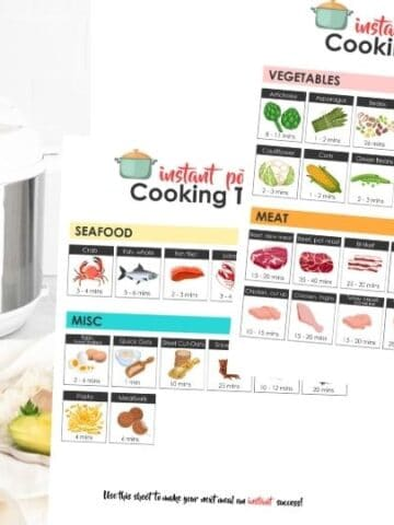 instant pot cook printable