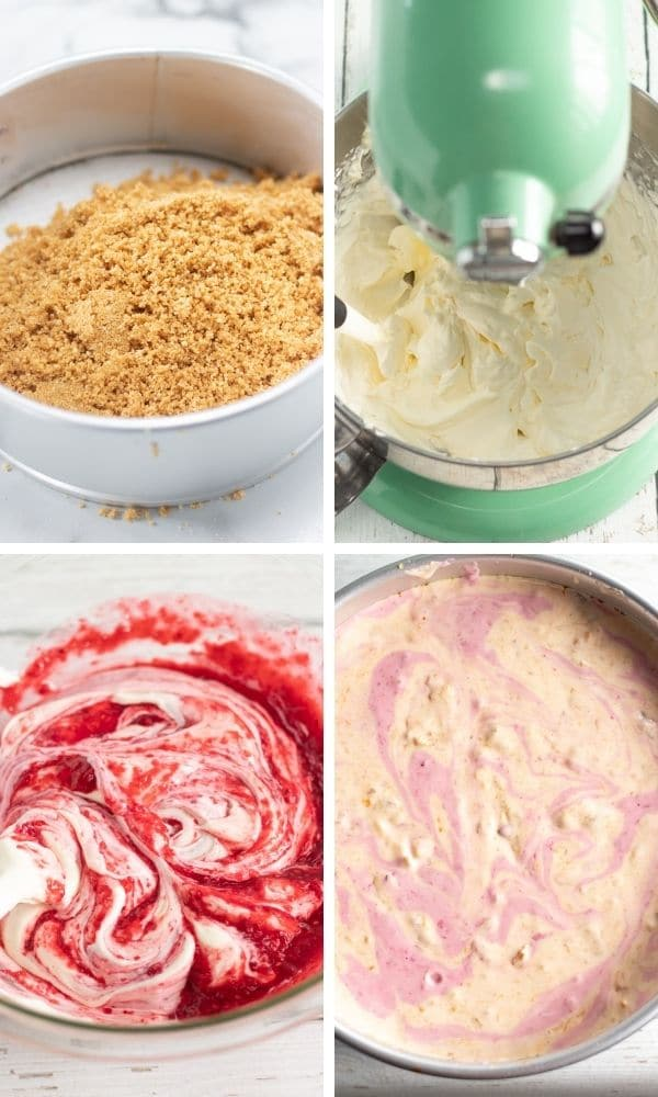pictures on how to make instant pot raspberry peach cheesecake