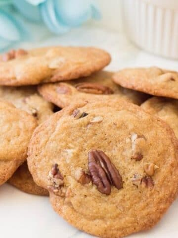 toasted pecan cookies on table
