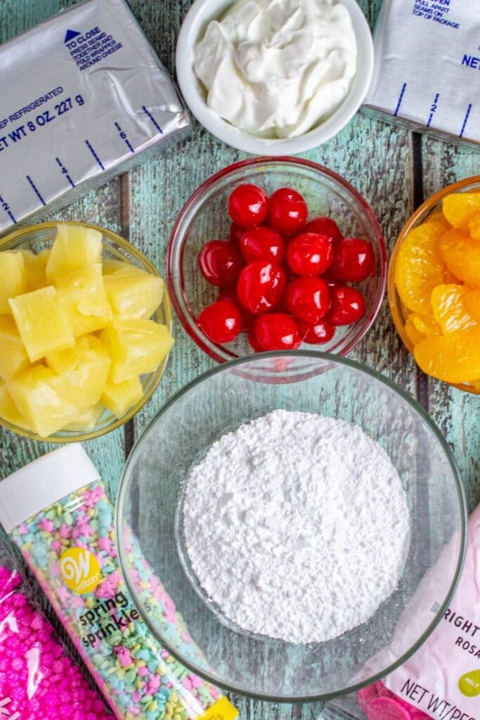 ambrosia salad dip ingredients on counter