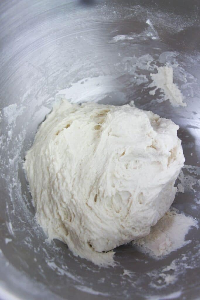 mixing bagel dough in stand mixer