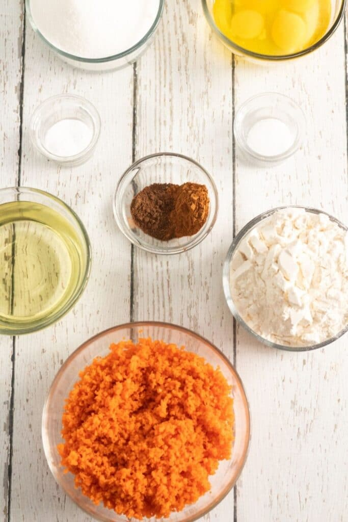 carrot cake ingredients on plate