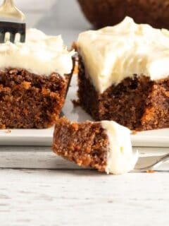 carrot cake squares with fork mark