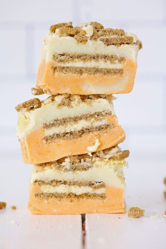 stacked carrot cake fudge on wooden table