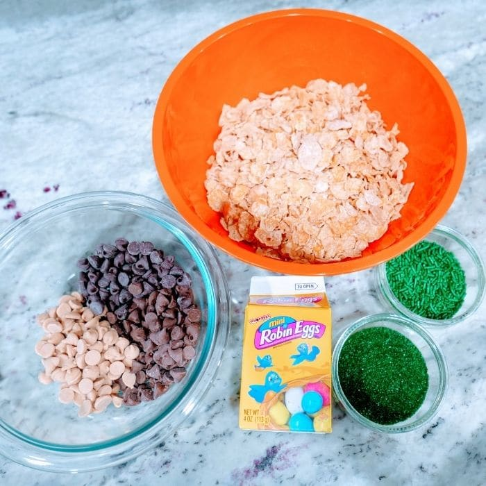 ingredients for cornflake cookies on marble counter
