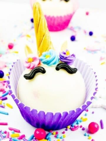 unicorn hot chocolate bombs in cupcake liner