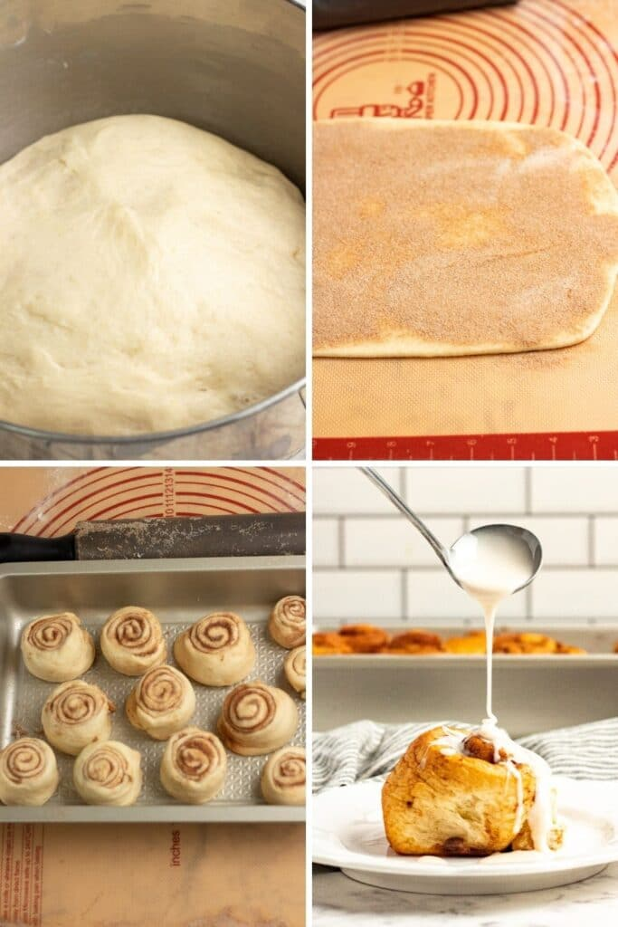 pictures on how to make maple buns from dough to drizzling with icing