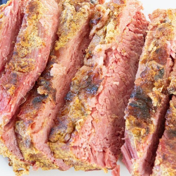 instapot corned beef on white platter