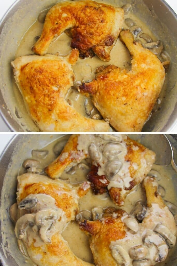 mushrooms and chicken in a pan