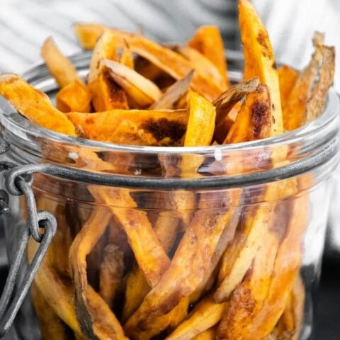 sweet potato fries in a jar