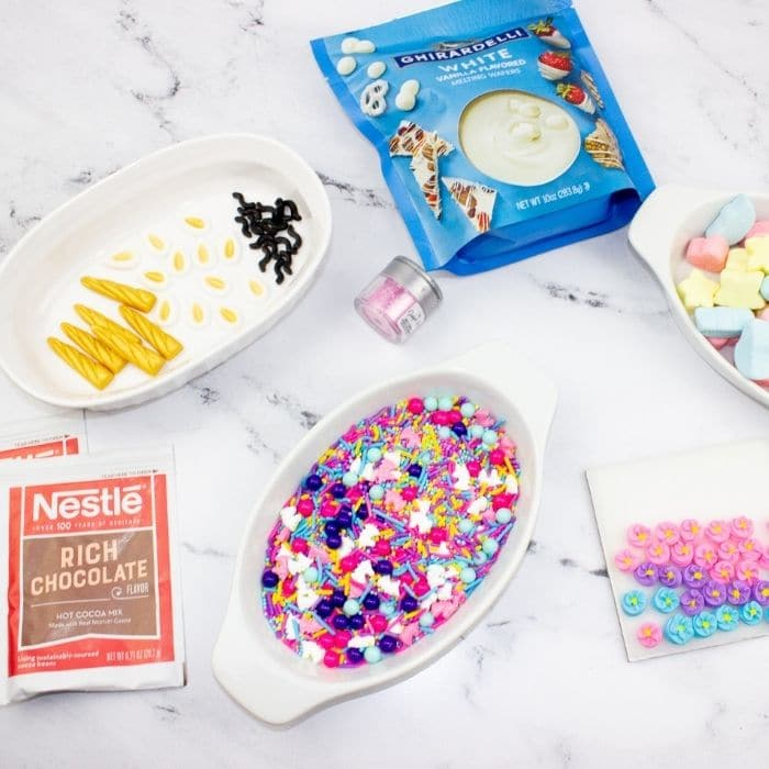 ingredients for unicorn hot chocolate bomb