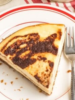 slice of cinnamon cheesecake on plate