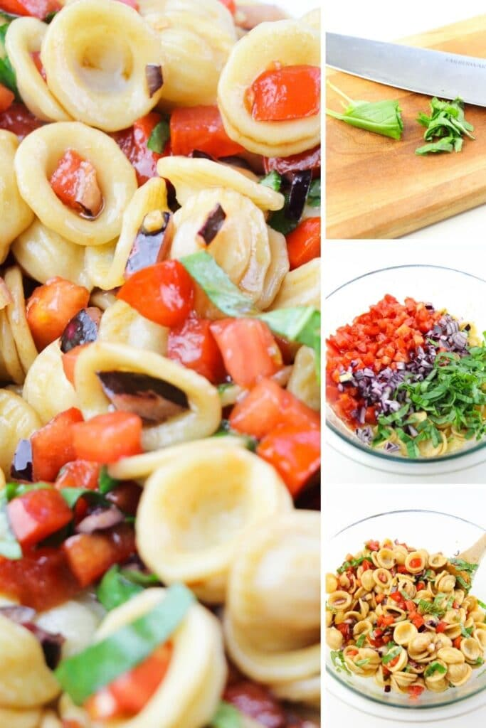 cold pasta salad steps of how to make in picture collage