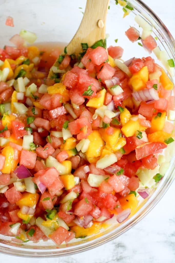 cucumber mango salsa in a bowl