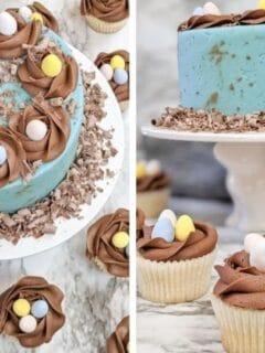 easter cake on cake platter