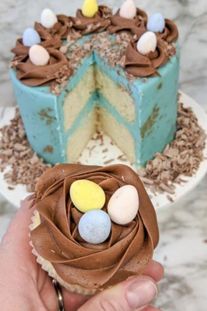 holding cupcake with a layered cake behind it