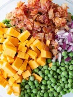 bowl of pea salad ingredients