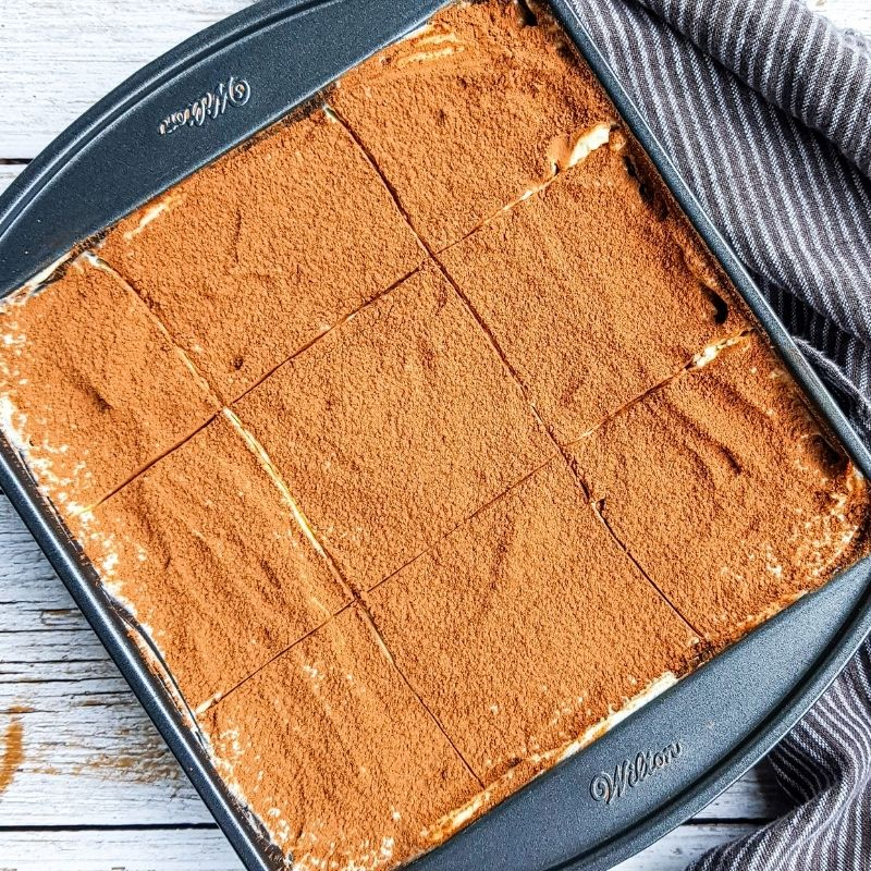 tiramisu cake in pan