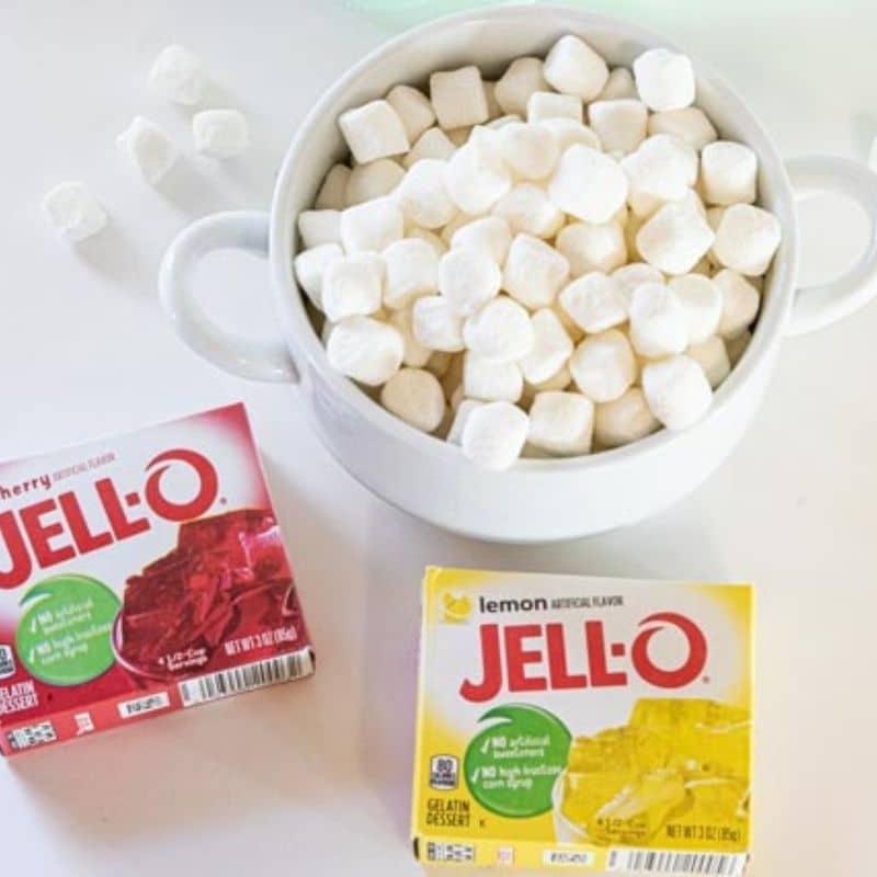 marshmallows and boxes of Jello on white counter