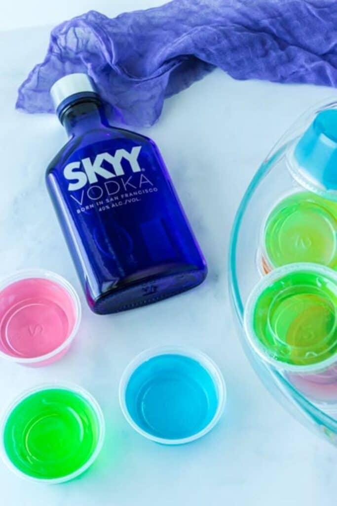 alcoholic jello shots on counter