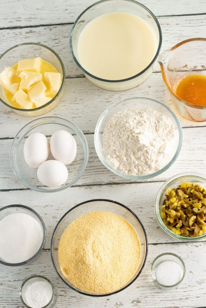 ingredients for a jalapeno cornbread on counter