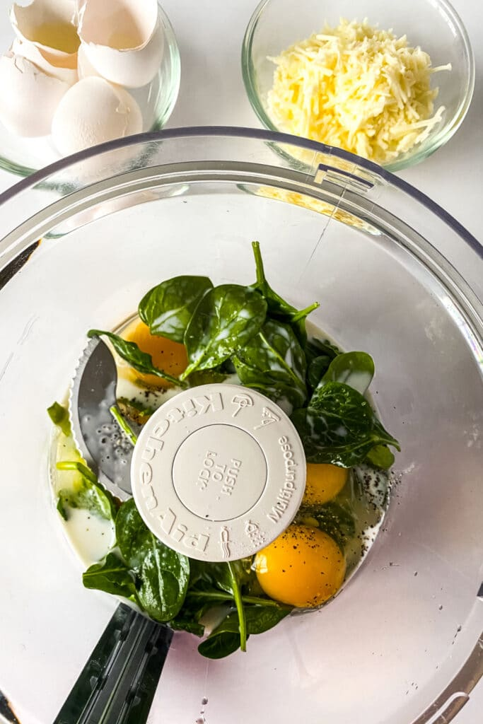 egg mixture in a food processor