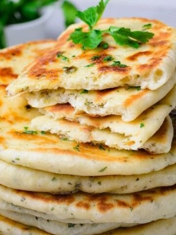 stack of flatbread on table