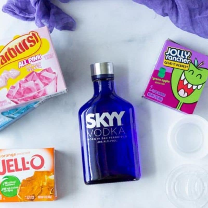 ingredients for Jello Shots on table