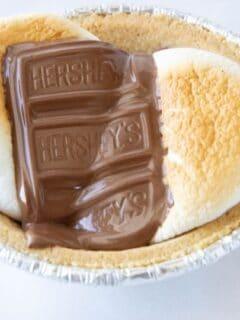 mini smores pie on a counter