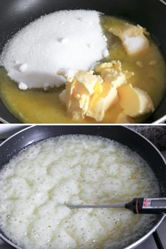 pictures on how to melt down sugar mixture for toffee