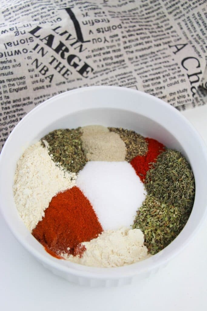 cajun seasoning spices in a white bowl