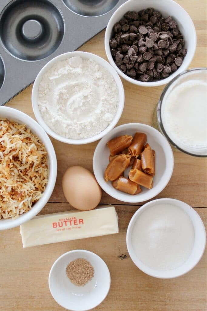 ingredients for coconut donuts on a table