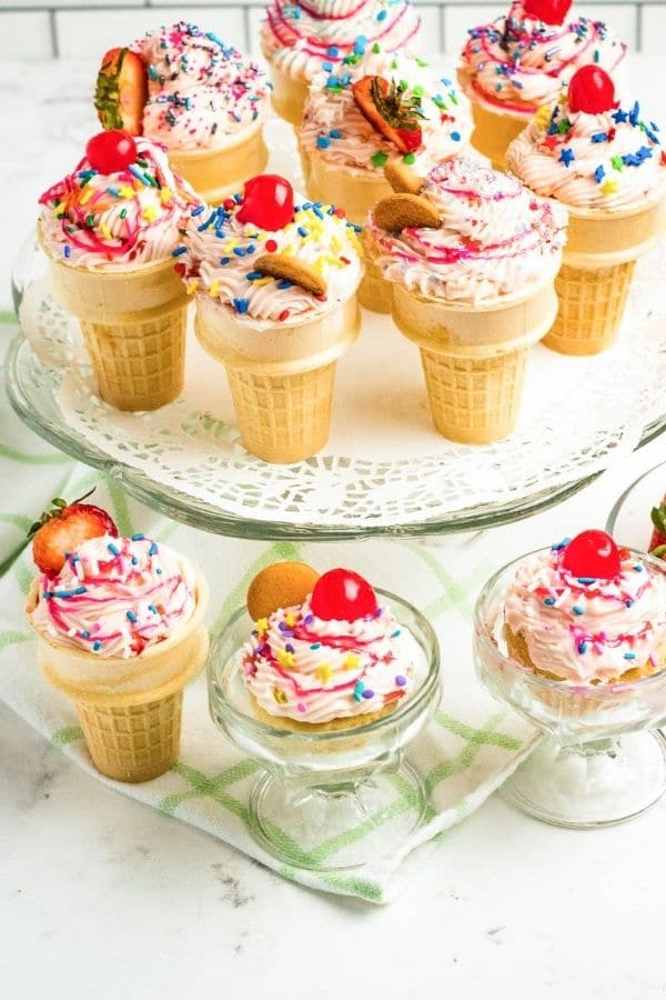 cupcakes in cones on display