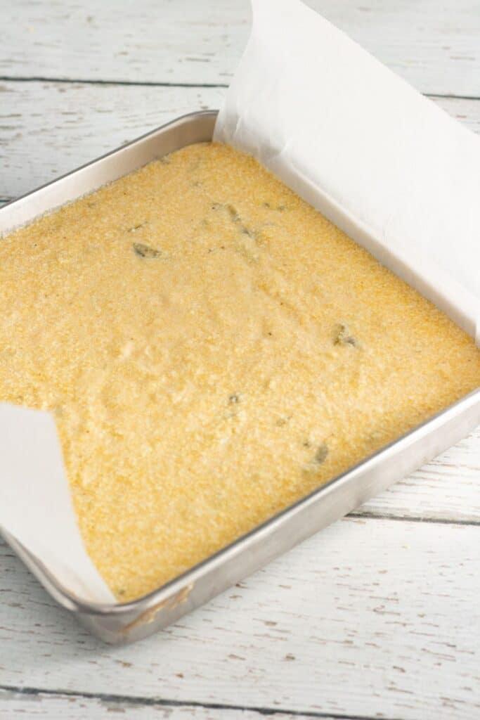 cornbread in a prepared pan