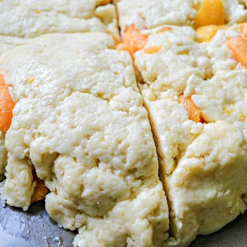 formed scones with peaches
