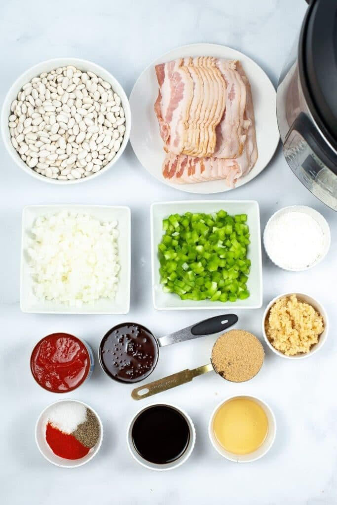 baked bean ingredients on counter