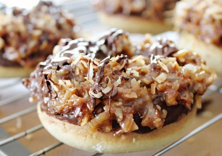 girl scout samoa donuts on cooling rack