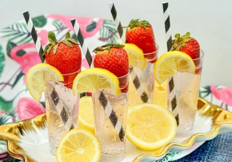 tray of strawberry lemonade vodka cocktails